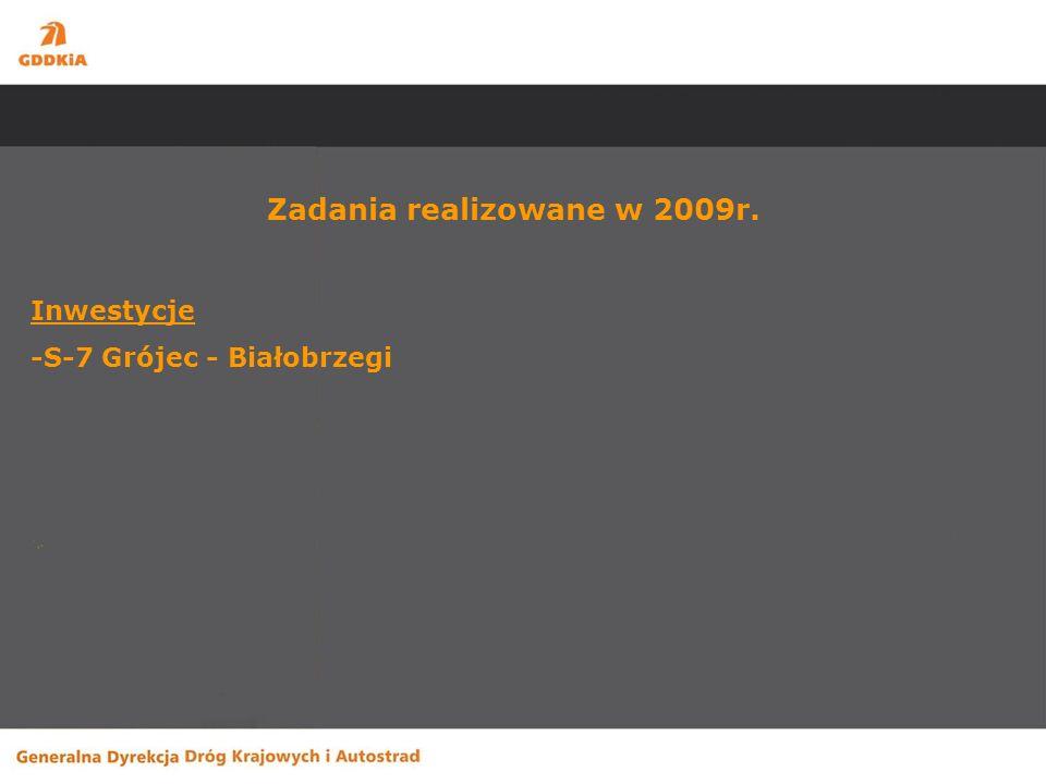 Budowa drogi S-7 Grójec-Białobrzegi Zakres robót – rozbudowa istniejącej drogi krajowej nr 7 do parametrów dwujezdniowej drogi ekspresowej na odcinku o długości 17,8 km.