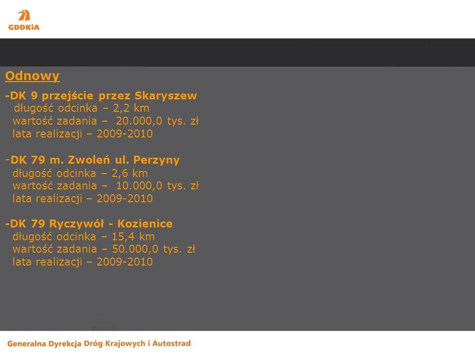 Zadania planowane do realizacji w 2010r. Inwestycje - S-7 Radom – granica województwa mazowieckiego