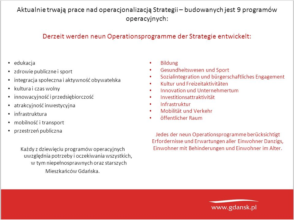 Aktualnie trwają prace nad operacjonalizacją Strategii – budowanych jest 9 programów operacyjnych: Derzeit werden neun Operationsprogramme der Strategie entwickelt: edukacja zdrowie publiczne i sport integracja społeczna i aktywność obywatelska kultura i czas wolny innowacyjność i przedsiębiorczość atrakcyjność inwestycyjna infrastruktura mobilność i transport przestrzeń publiczna Każdy z dziewięciu programów operacyjnych uwzględnia potrzeby i oczekiwania wszystkich, w tym niepełnosprawnych oraz starszych Mieszkańców Gdańska.