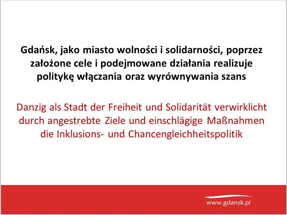 Gdańsk, jako miasto wolności i solidarności, poprzez założone cele i podejmowane działania realizuje politykę włączania oraz wyrównywania szans Danzig als Stadt der Freiheit und Solidarität verwirklicht durch angestrebte Ziele und einschlägige Maßnahmen die Inklusions- und Chancengleichheitspolitik