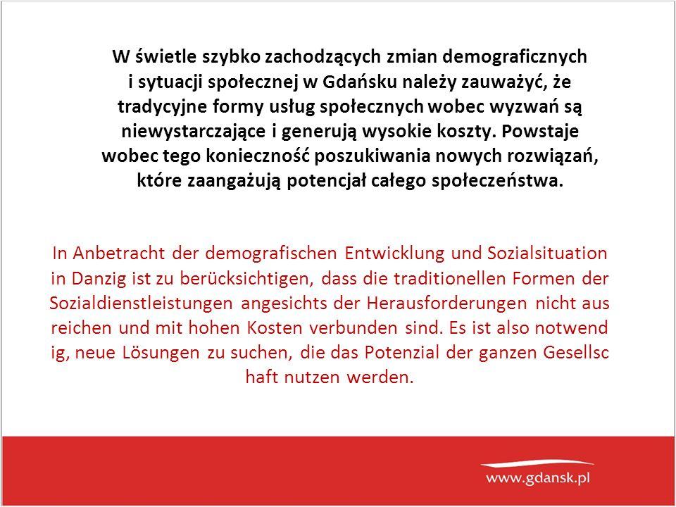 W świetle szybko zachodzących zmian demograficznych i sytuacji społecznej w Gdańsku należy zauważyć, że tradycyjne formy usług społecznych wobec wyzwań są niewystarczające i generują wysokie koszty.