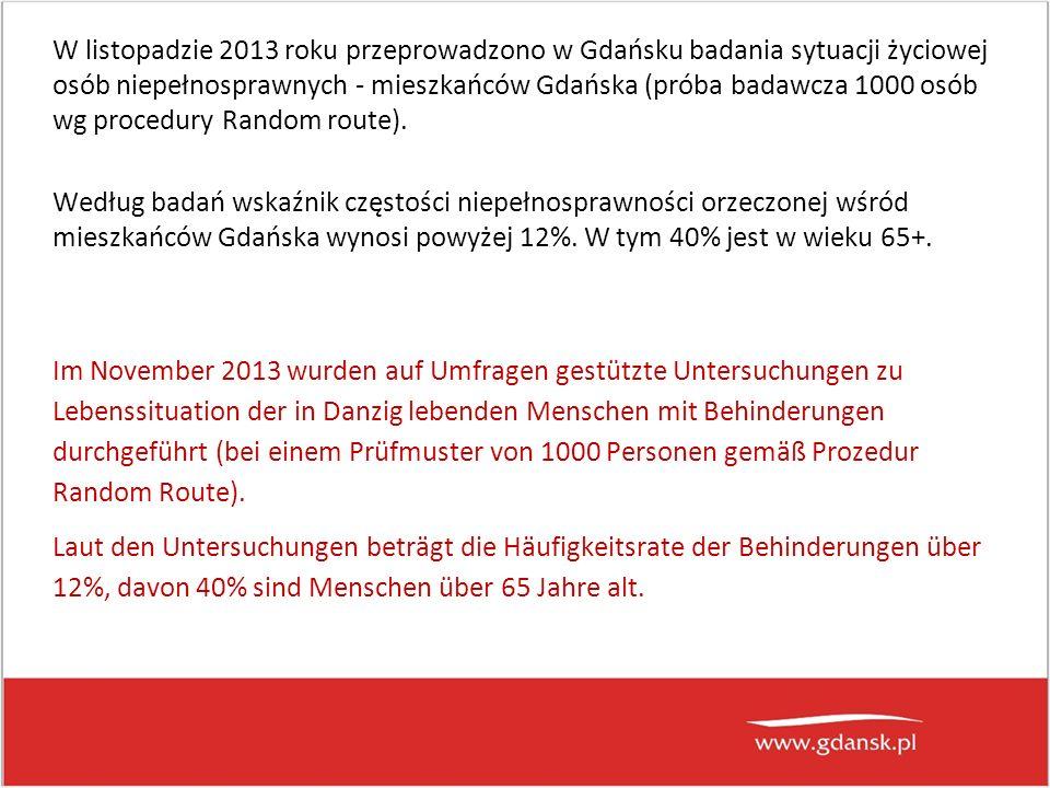 W listopadzie 2013 roku przeprowadzono w Gdańsku badania sytuacji życiowej osób niepełnosprawnych - mieszkańców Gdańska (próba badawcza 1000 osób wg procedury Random route).