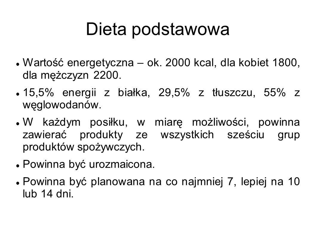 Dieta podstawowa Wartość energetyczna – ok. 2000 kcal, dla kobiet 1800, dla mężczyzn 2200.