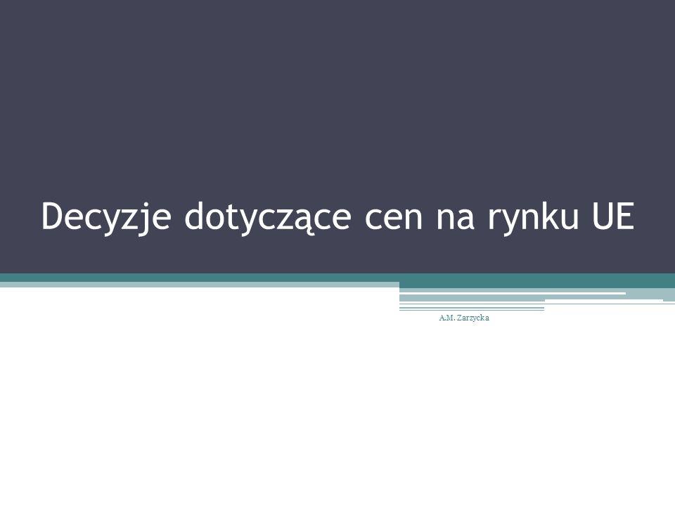 Decyzje dotyczące cen na rynku UE A.M. Zarzycka