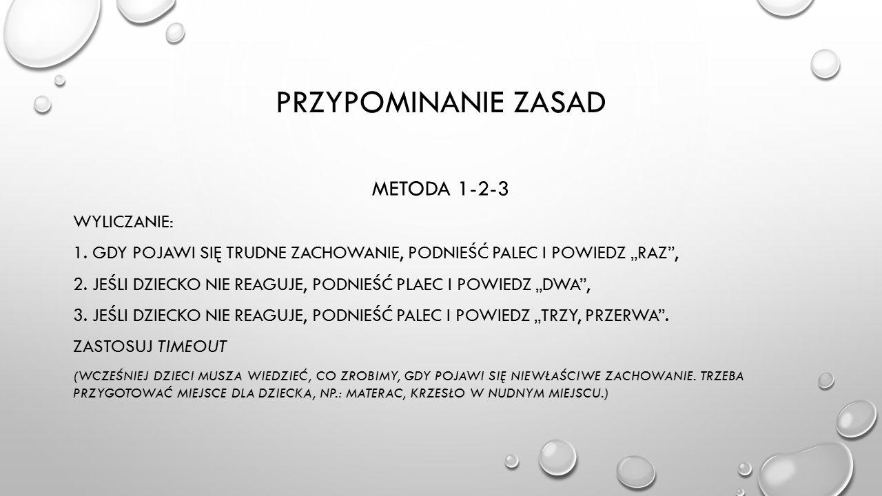 PRZYPOMINANIE ZASAD METODA 1-2-3 WYLICZANIE: 1.