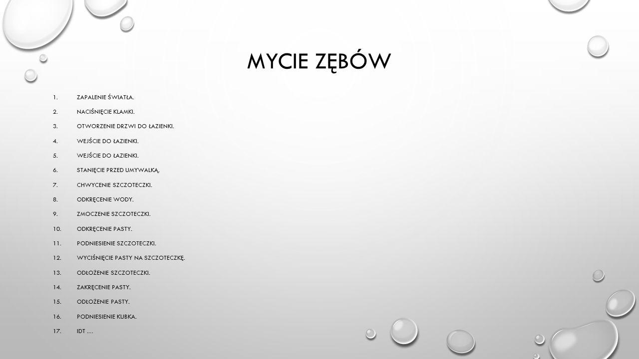MYCIE ZĘBÓW 1.ZAPALENIE ŚWIATŁA. 2.NACIŚNIĘCIE KLAMKI.