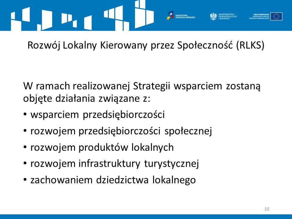 Rozwój Lokalny Kierowany przez Społeczność (RLKS) W ramach realizowanej Strategii wsparciem zostaną objęte działania związane z: wsparciem przedsiębio