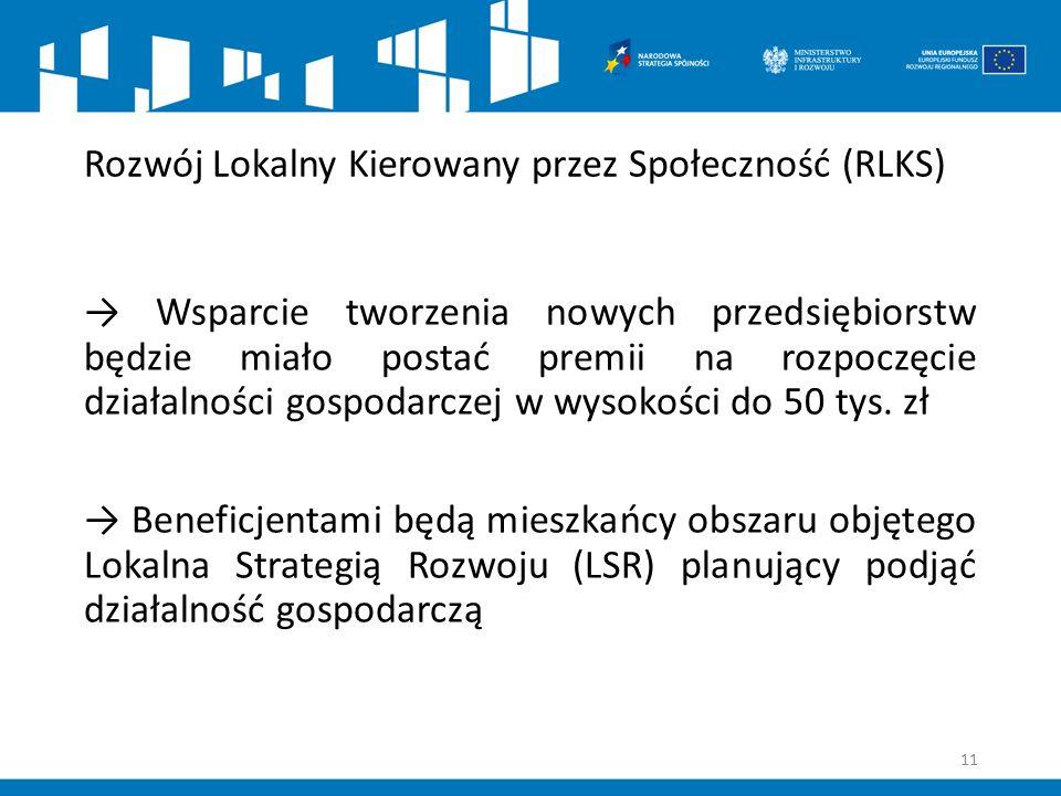 Rozwój Lokalny Kierowany przez Społeczność (RLKS) → Wsparcie tworzenia nowych przedsiębiorstw będzie miało postać premii na rozpoczęcie działalności g