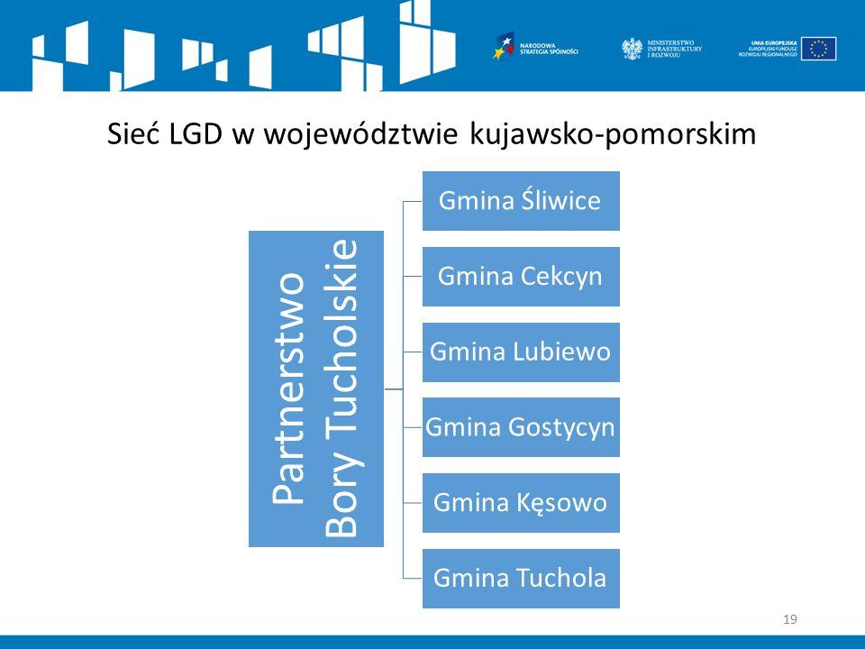 Sieć LGD w województwie kujawsko-pomorskim Partnerstwo Bory Tucholskie Gmina Śliwice Gmina Cekcyn Gmina Lubiewo Gmina Gostycyn Gmina Kęsowo Gmina Tuchola 19