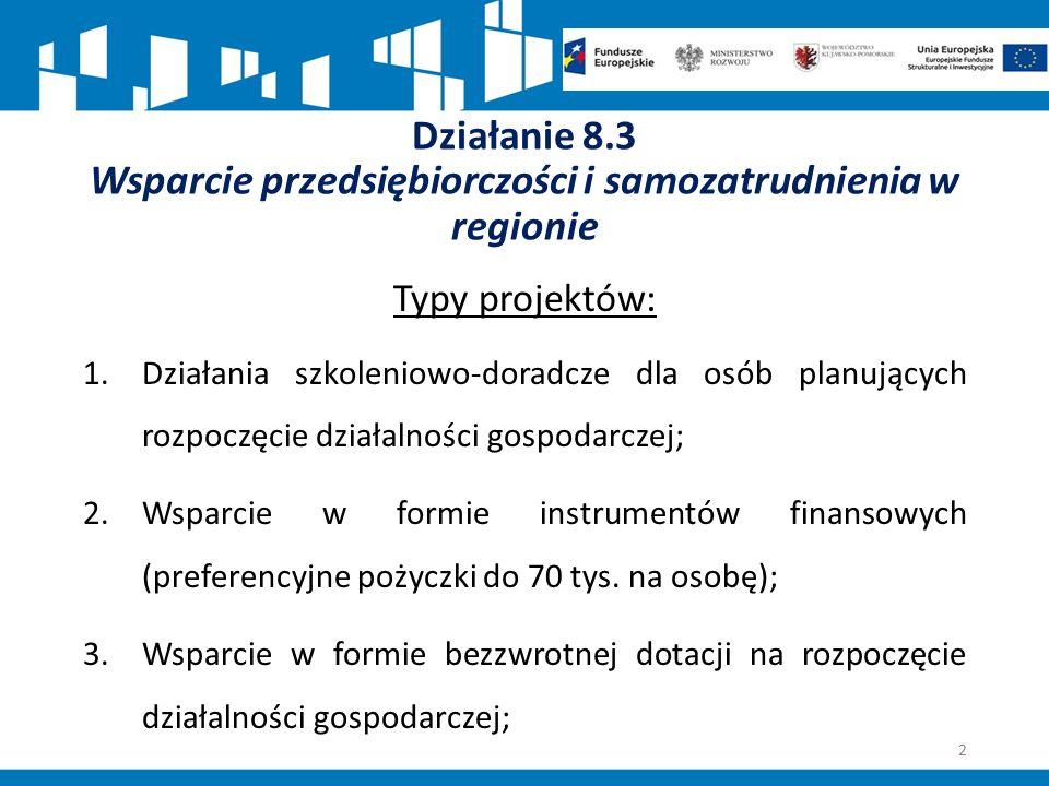 Działanie 8.3 Wsparcie przedsiębiorczości i samozatrudnienia w regionie Typy projektów: 1.Działania szkoleniowo-doradcze dla osób planujących rozpoczę