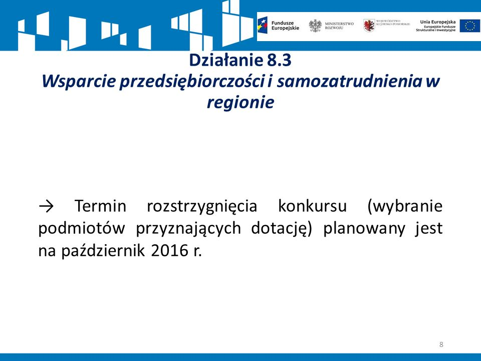 Działanie 8.3 Wsparcie przedsiębiorczości i samozatrudnienia w regionie → Termin rozstrzygnięcia konkursu (wybranie podmiotów przyznających dotację) p