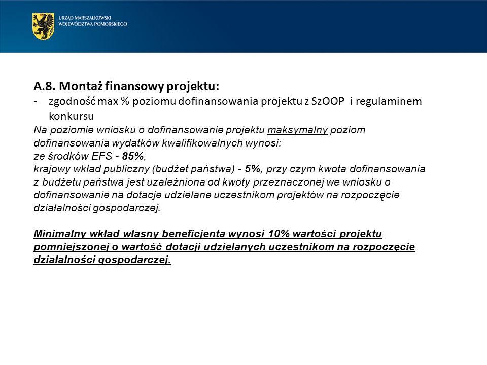 A.8. Montaż finansowy projektu: -zgodność max % poziomu dofinansowania projektu z SzOOP i regulaminem konkursu Na poziomie wniosku o dofinansowanie pr
