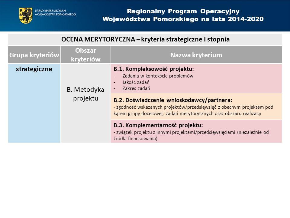 Grupa kryteriów Obszar kryteriów Nazwa kryterium strategiczne B.