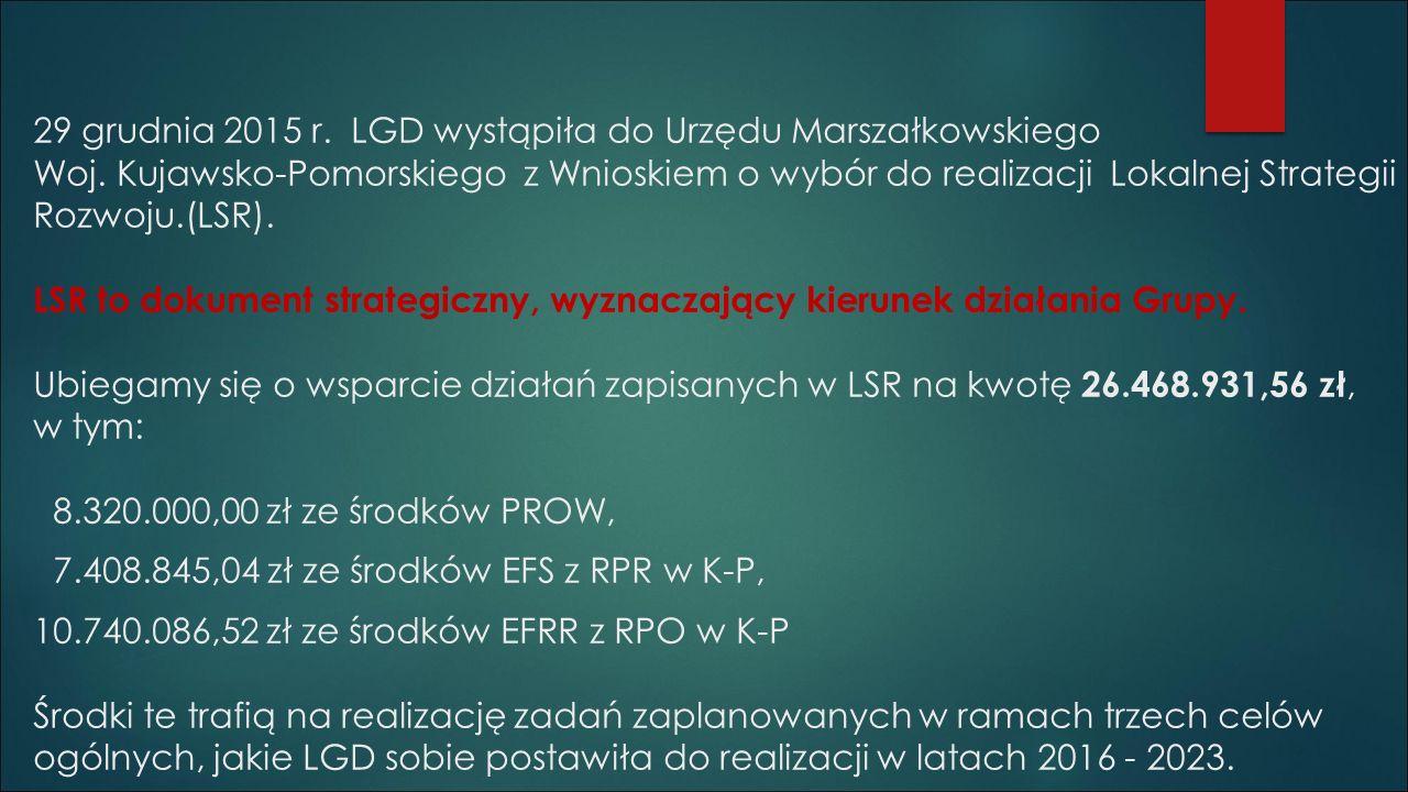 29 grudnia 2015 r. LGD wystąpiła do Urzędu Marszałkowskiego Woj.