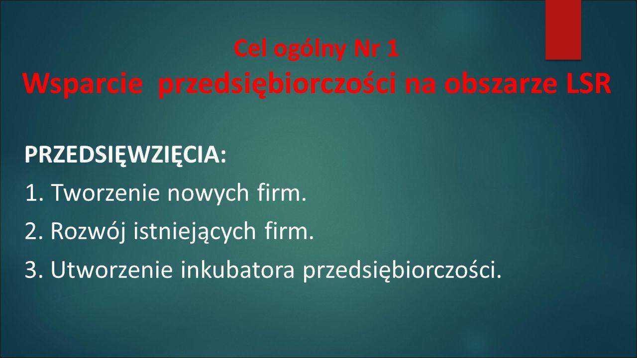 Cel ogólny Nr 1 Wsparcie przedsiębiorczości na obszarze LSR PRZEDSIĘWZIĘCIA: 1.