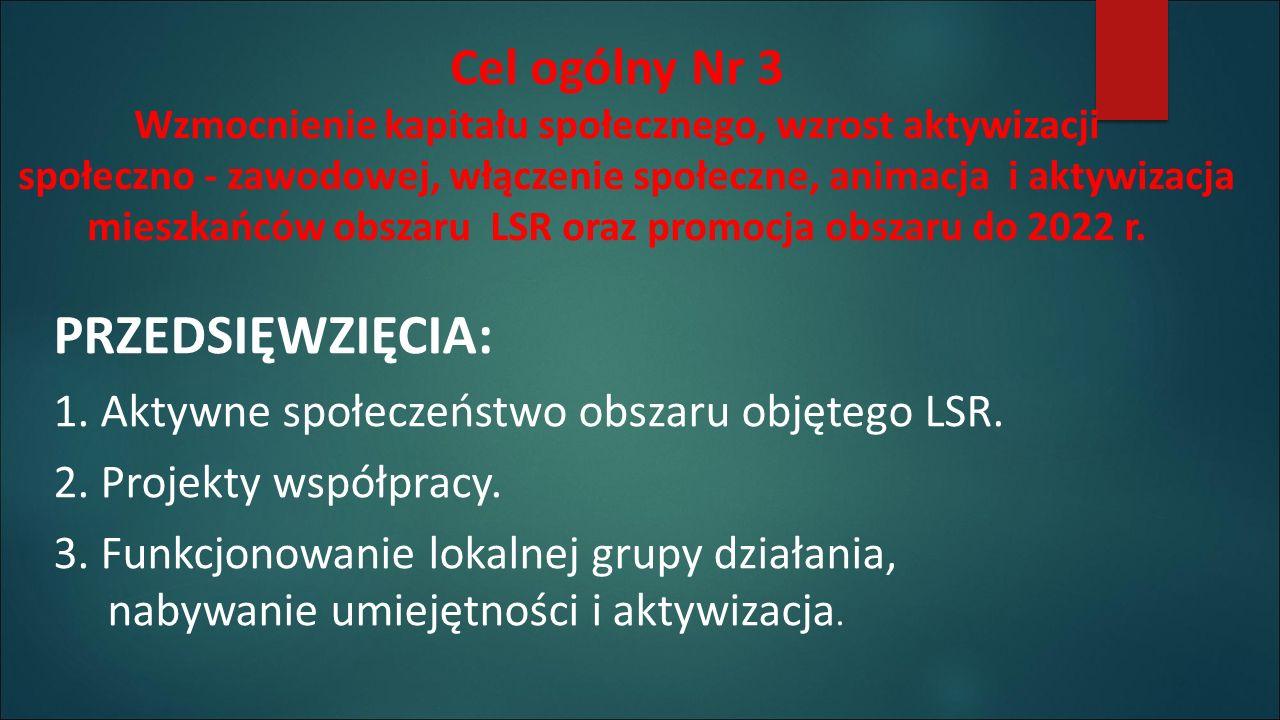Cel ogólny Nr 3 Wzmocnienie kapitału społecznego, wzrost aktywizacji społeczno - zawodowej, włączenie społeczne, animacja i aktywizacja mieszkańców obszaru LSR oraz promocja obszaru do 2022 r.
