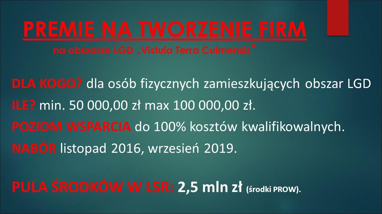 """PREMIE NA TWORZENIE FIRM na obszarze LGD """"Vistula Terra Culmensis DLA KOGO."""