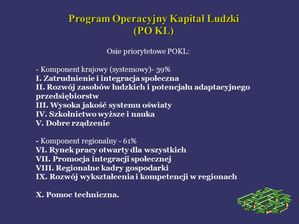 Osie priorytetowe POKL: - Komponent krajowy (systemowy)- 39% I. Zatrudnienie i integracja społeczna II. Rozwój zasobów ludzkich i potencjału adaptacyj