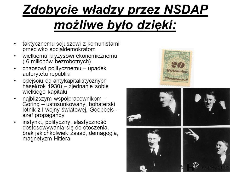 Zdobycie władzy przez NSDAP możliwe było dzięki: taktycznemu sojuszowi z komunistami przeciwko socjaldemokratom wielkiemu kryzysowi ekonomicznemu ( 6