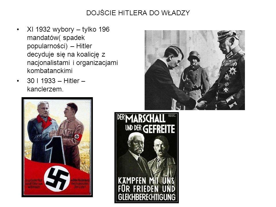 DOJŚCIE HITLERA DO WŁADZY XI 1932 wybory – tylko 196 mandatów( spadek popularności) – Hitler decyduje się na koalicję z nacjonalistami i organizacjami
