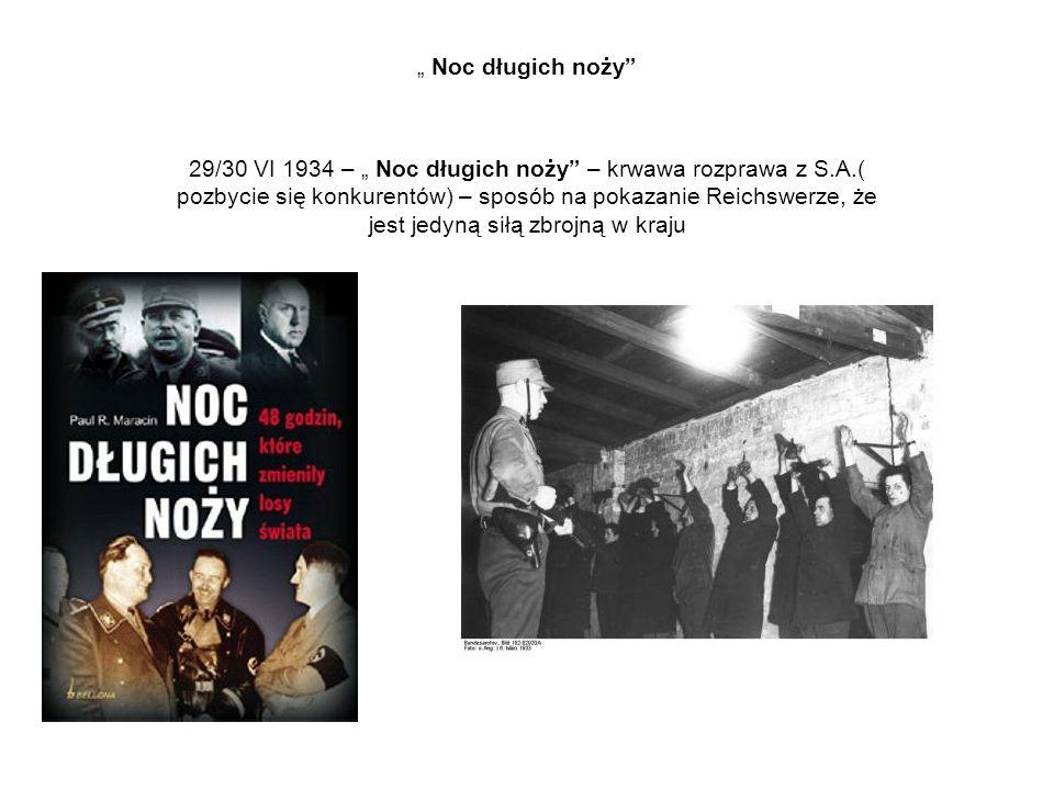 """"""" Noc długich noży"""" 29/30 VI 1934 – """" Noc długich noży"""" – krwawa rozprawa z S.A.( pozbycie się konkurentów) – sposób na pokazanie Reichswerze, że jest"""