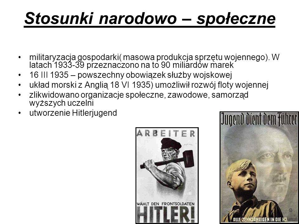 Stosunki narodowo – społeczne militaryzacja gospodarki( masowa produkcja sprzętu wojennego). W latach 1933-39 przeznaczono na to 90 miliardów marek 16