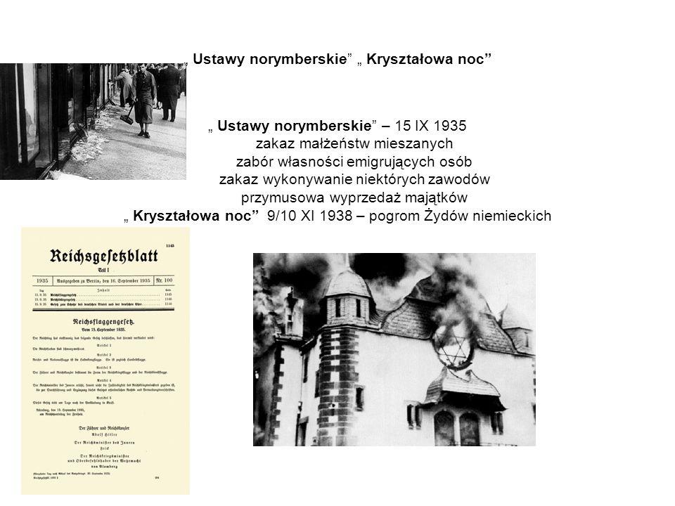 """"""" Ustawy norymberskie"""" """" Kryształowa noc"""" """" Ustawy norymberskie"""" – 15 IX 1935 zakaz małżeństw mieszanych zabór własności emigrujących osób zakaz wykon"""