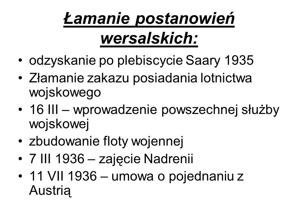 Łamanie postanowień wersalskich: odzyskanie po plebiscycie Saary 1935 Złamanie zakazu posiadania lotnictwa wojskowego 16 III – wprowadzenie powszechne