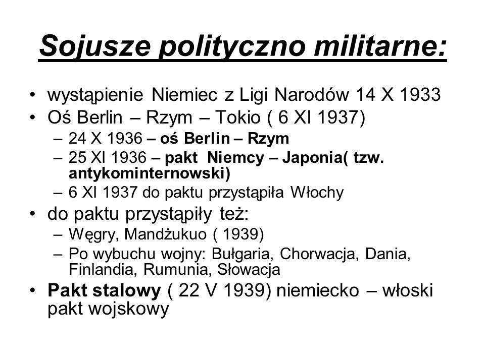 Sojusze polityczno militarne: wystąpienie Niemiec z Ligi Narodów 14 X 1933 Oś Berlin – Rzym – Tokio ( 6 XI 1937) –24 X 1936 – oś Berlin – Rzym –25 XI
