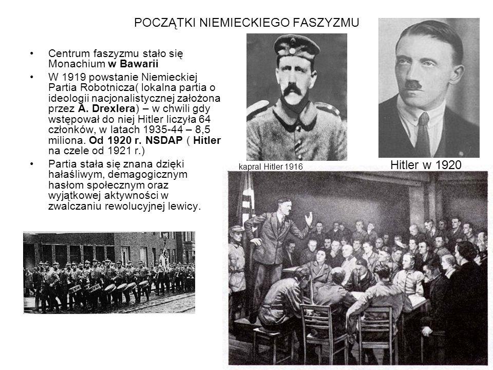 POCZĄTKI NIEMIECKIEGO FASZYZMU Centrum faszyzmu stało się Monachium w Bawarii W 1919 powstanie Niemieckiej Partia Robotnicza( lokalna partia o ideolog
