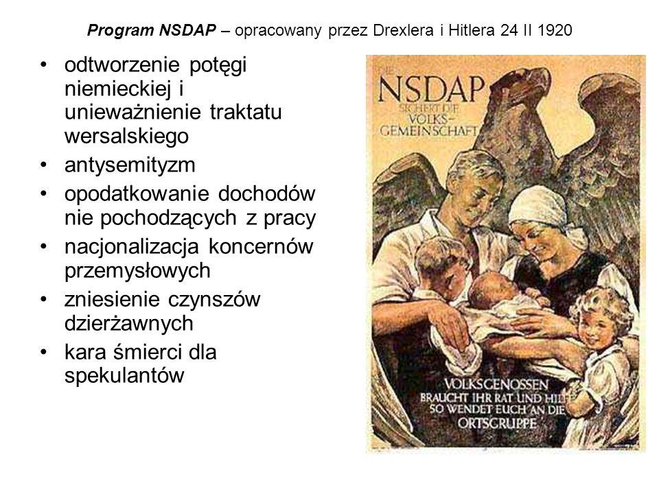 Program NSDAP – opracowany przez Drexlera i Hitlera 24 II 1920 odtworzenie potęgi niemieckiej i unieważnienie traktatu wersalskiego antysemityzm opoda