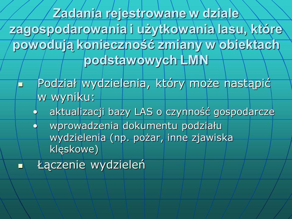 Zadania rejestrowane w dziale zagospodarowania i użytkowania lasu, które powodują konieczność zmiany w obiektach podstawowych LMN Podział wydzielenia, który może nastąpić w wyniku: Podział wydzielenia, który może nastąpić w wyniku: aktualizacji bazy LAS o czynność gospodarczeaktualizacji bazy LAS o czynność gospodarcze wprowadzenia dokumentu podziału wydzielenia (np.
