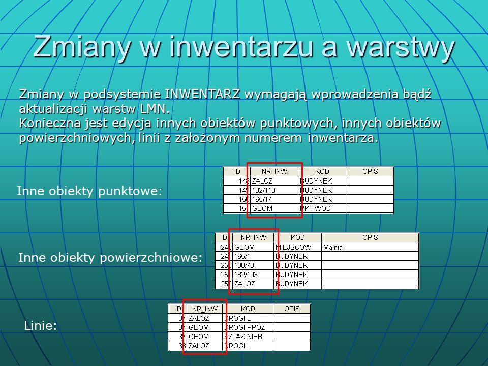 Zmiany w inwentarzu a warstwy Inne obiekty punktowe: Zmiany w podsystemie INWENTARZ wymagają wprowadzenia bądź aktualizacji warstw LMN.