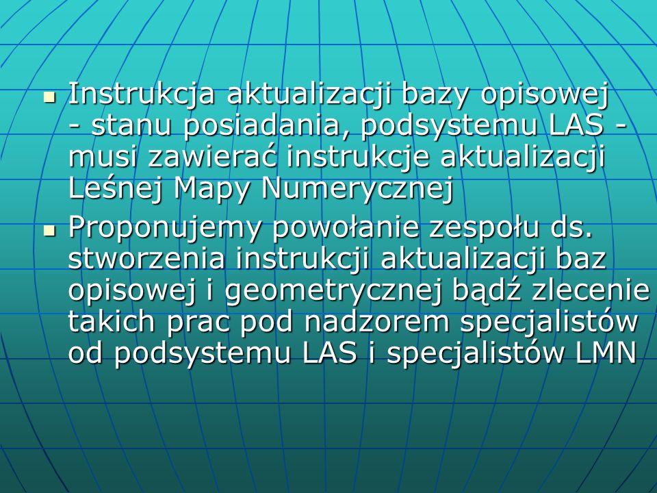 Instrukcja aktualizacji bazy opisowej - stanu posiadania, podsystemu LAS - musi zawierać instrukcje aktualizacji Leśnej Mapy Numerycznej Instrukcja aktualizacji bazy opisowej - stanu posiadania, podsystemu LAS - musi zawierać instrukcje aktualizacji Leśnej Mapy Numerycznej Proponujemy powołanie zespołu ds.