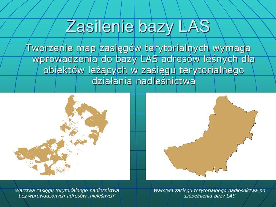 """Zasilenie bazy LAS Tworzenie map zasięgów terytorialnych wymaga wprowadzenia do bazy LAS adresów leśnych dla obiektów leżących w zasięgu terytorialnego działania nadleśnictwa Warstwa zasięgu terytorialnego nadleśnictwa bez wprowadzonych adresów """"nieleśnych Warstwa zasięgu terytorialnego nadleśnictwa po uzupełnieniu bazy LAS"""