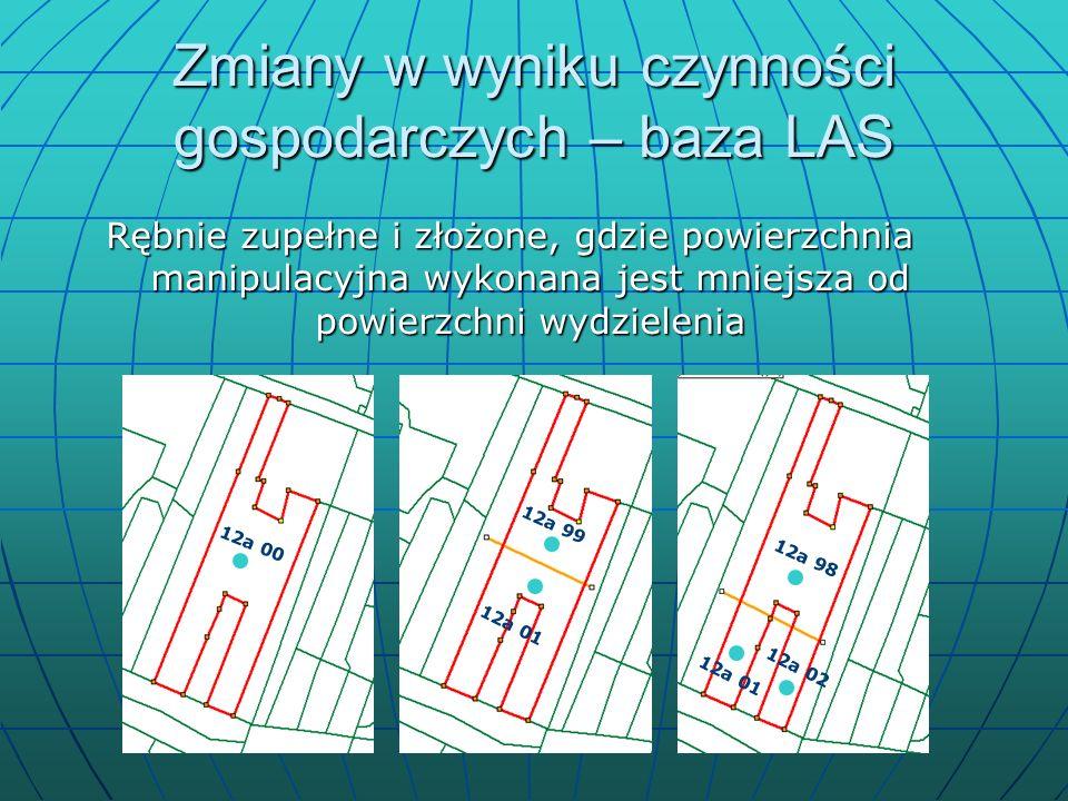 Zmiany w LAS a warstwy Przeadresowania w bazie LAS wymagają odpowiednich zmian w adresacji obiektów mapy – łączenie nadleśnictw, łączenie leśnictw, tworzenie nowych itp.