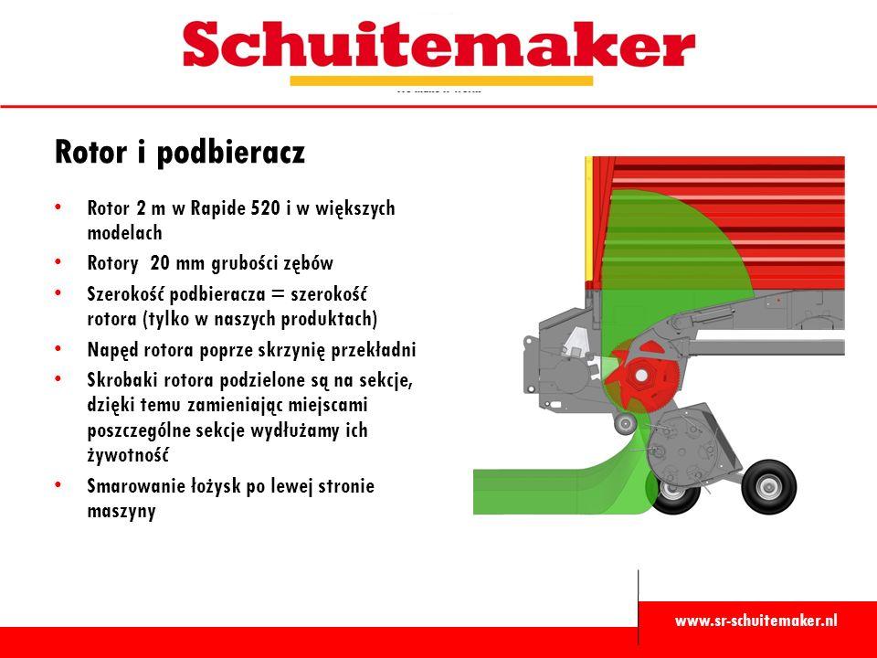 www.sr-schuitemaker.nl Rotor i podbieracz Rotor 2 m w Rapide 520 i w większych modelach Rotory 20 mm grubości zębów Szerokość podbieracza = szerokość