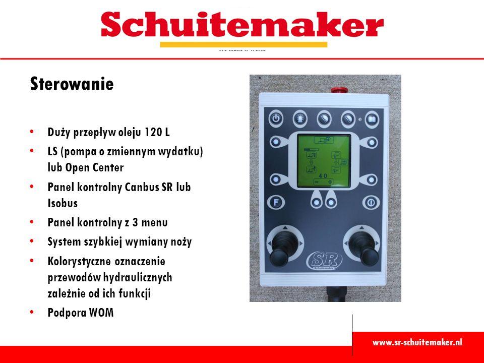 www.sr-schuitemaker.nl Sterowanie Duży przepływ oleju 120 L LS (pompa o zmiennym wydatku) lub Open Center Panel kontrolny Canbus SR lub Isobus Panel kontrolny z 3 menu System szybkiej wymiany noży Kolorystyczne oznaczenie przewodów hydraulicznych zależnie od ich funkcji Podpora WOM