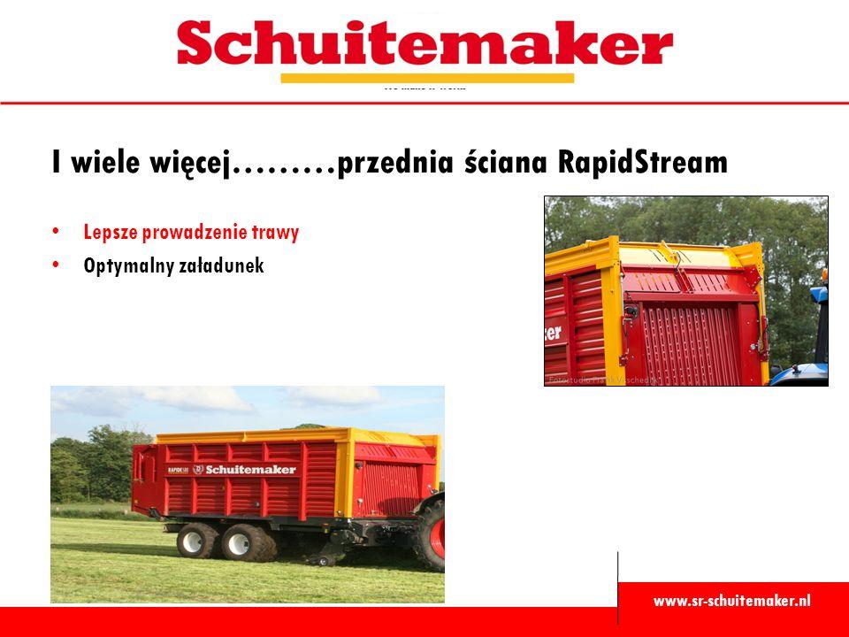 www.sr-schuitemaker.nl I wiele więcej………przednia ściana RapidStream Lepsze prowadzenie trawy Optymalny załadunek
