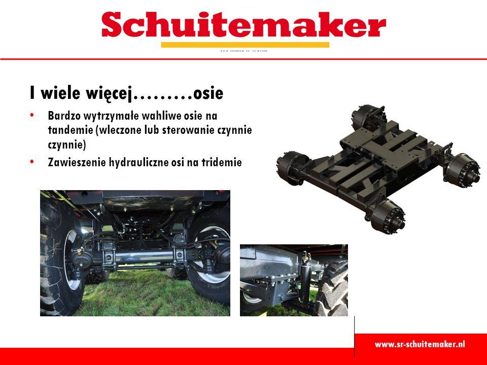 www.sr-schuitemaker.nl I wiele więcej………osie Bardzo wytrzymałe wahliwe osie na tandemie (wleczone lub sterowanie czynnie czynnie) Zawieszenie hydrauli
