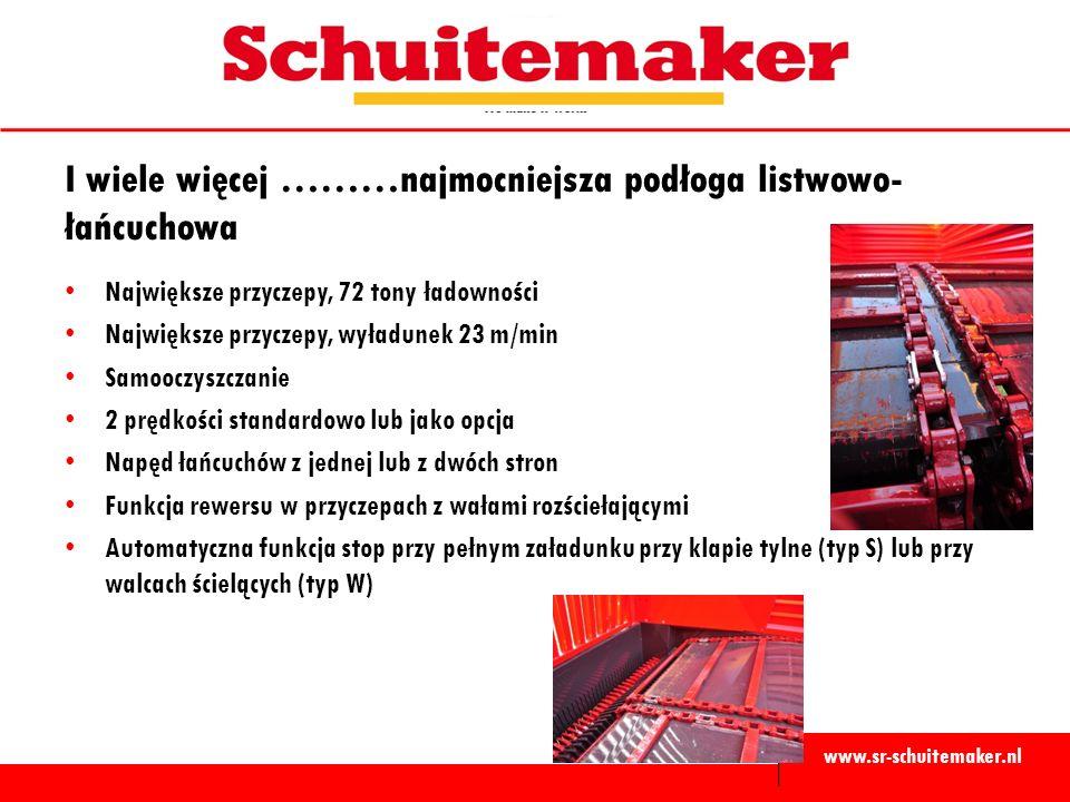 www.sr-schuitemaker.nl I wiele więcej ………najmocniejsza podłoga listwowo- łańcuchowa Największe przyczepy, 72 tony ładowności Największe przyczepy, wyładunek 23 m/min Samooczyszczanie 2 prędkości standardowo lub jako opcja Napęd łańcuchów z jednej lub z dwóch stron Funkcja rewersu w przyczepach z wałami rozściełającymi Automatyczna funkcja stop przy pełnym załadunku przy klapie tylne (typ S) lub przy walcach ścielących (typ W)