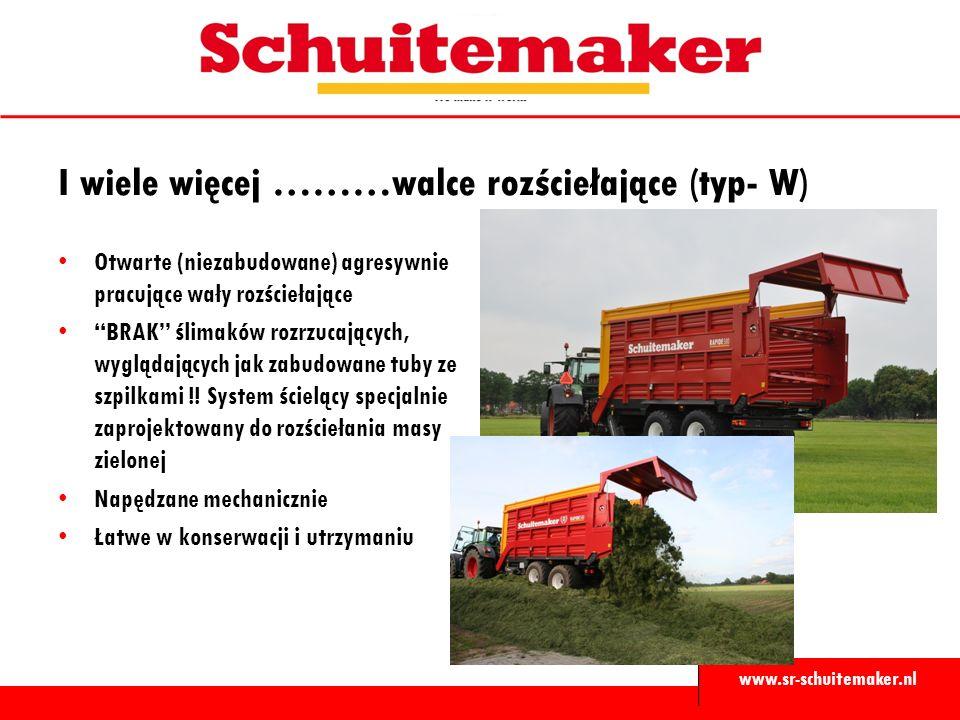 www.sr-schuitemaker.nl Otwarte (niezabudowane) agresywnie pracujące wały rozściełające BRAK ślimaków rozrzucających, wyglądających jak zabudowane tuby ze szpilkami !.