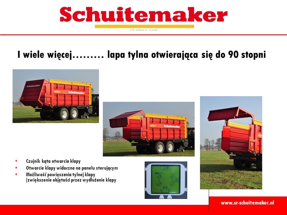 www.sr-schuitemaker.nl I wiele więcej……… lapa tylna otwierająca się do 90 stopni Czujnik kąta otwarcia klapy Otwarcie klapy widoczne na panelu sterującym Możliwość powięszenia tylnej klapy (zwiększenie objętości przez wydłużenie klapy