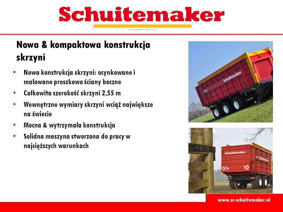 www.sr-schuitemaker.nl Nowa & kompaktowa konstrukcja skrzyni Nowa konstrukcja skrzyni: ocynkowane i malowane proszkowo ściany boczne Całkowita szeroko