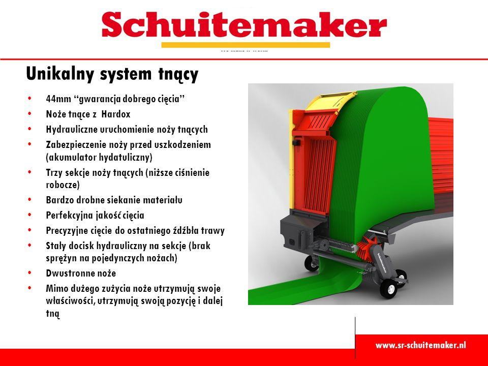 """www.sr-schuitemaker.nl Unikalny system tnący 44mm """"gwarancja dobrego cięcia"""" Noże tnące z Hardox Hydrauliczne uruchomienie noży tnących Zabezpieczenie"""