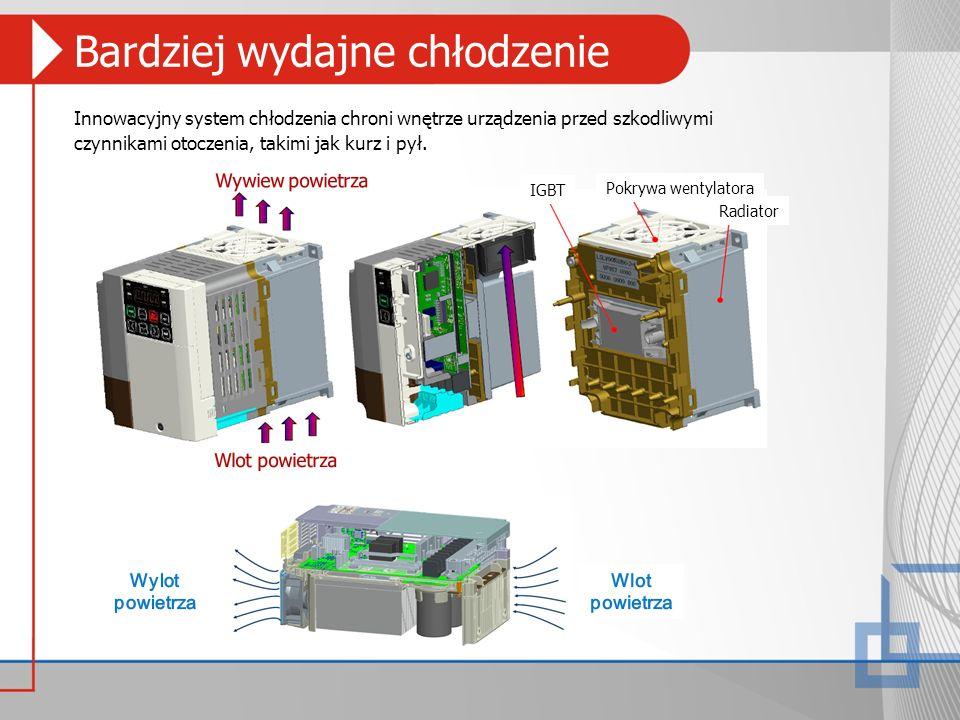 Bardziej wydajne chłodzenie Innowacyjny system chłodzenia chroni wnętrze urządzenia przed szkodliwymi czynnikami otoczenia, takimi jak kurz i pył. Rad