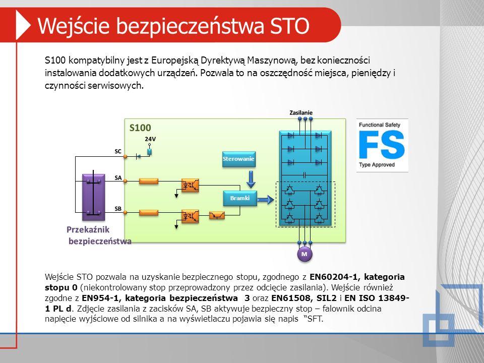Wejście bezpieczeństwa STO S100 kompatybilny jest z Europejską Dyrektywą Maszynową, bez konieczności instalowania dodatkowych urządzeń. Pozwala to na