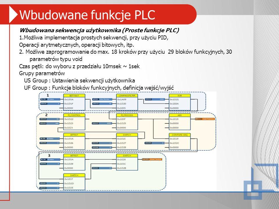 Wbudowane funkcje PLC Wbudowana sekwencja użytkownika (Proste funkcje PLC) 1.Możliwa implementacja prostych sekwencji, przy użyciu PID, Operacji arytm