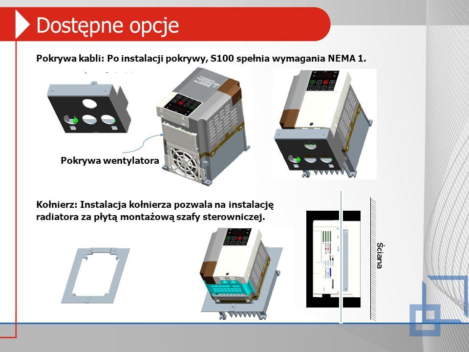 Dostępne opcje Pokrywa kabli: Po instalacji pokrywy, S100 spełnia wymagania NEMA 1. Kołnierz: Instalacja kołnierza pozwala na instalację radiatora za