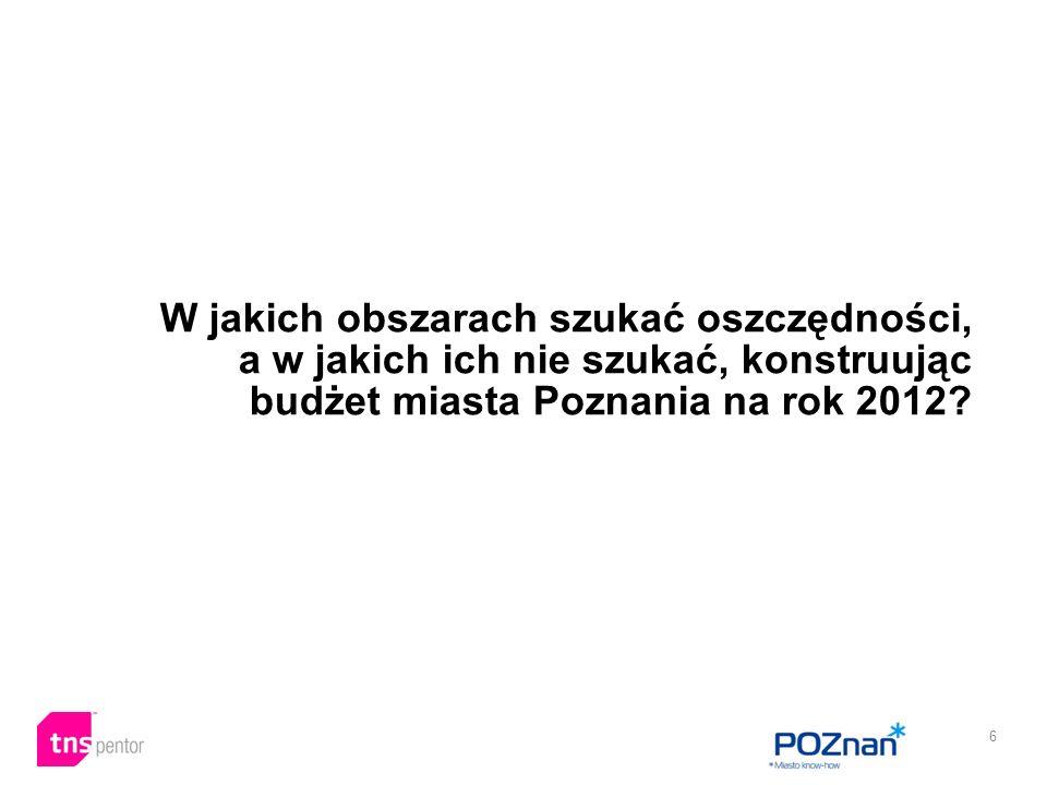 6 W jakich obszarach szukać oszczędności, a w jakich ich nie szukać, konstruując budżet miasta Poznania na rok 2012?